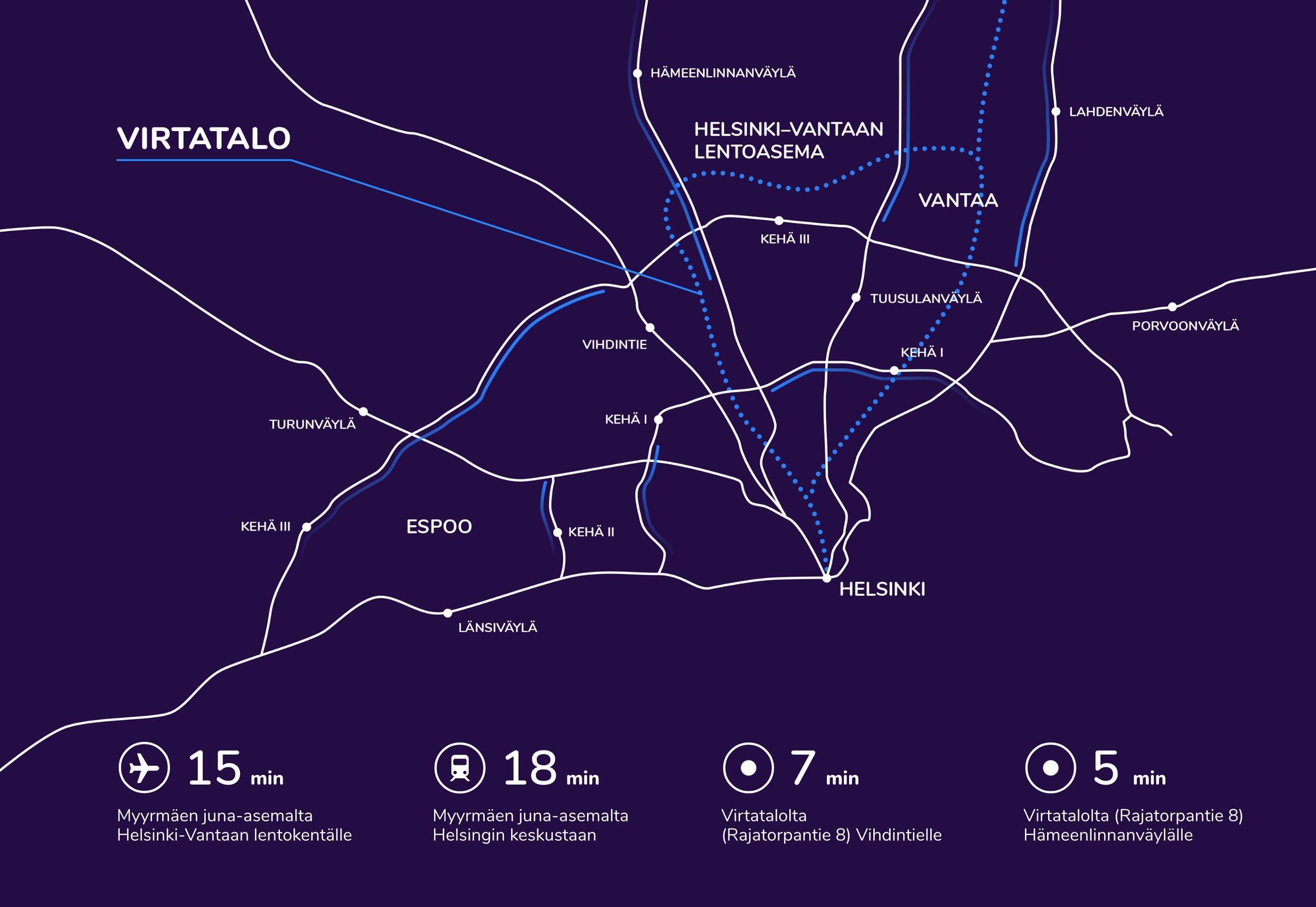 Virtatalon kartta jossa osoitettu pääkaupunkiseudun pääliikenneväylät